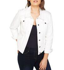 NEW Plus Size 16 18 20 10 12 14 Denim Jacket Women Jean Jackets Ladies White