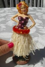 New Pin Up Redhead Hula Girl Car Dashboard Doll Grass Skirt Hawaiian 7 Inch