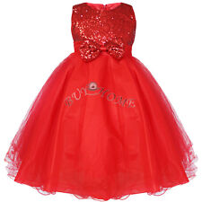 Girls Sequinned Dress Bow Party Prom Wedding Bridesmaid Flower Princess Dresses