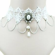 Choker Gothic Lace Pearl Necklace Collar Victorian Necklace Baroque Pure White