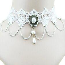 Chocker Gotico A punta Collana Di Perle Victorian Barocco PURO BIANCO