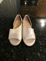 Anthropologie Shimmery Beige Leather Slip Ons, Size 8.5, New!