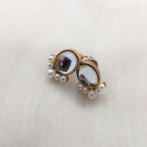 Oval Reflective Stone with Small Pearl Trim Stud Earrings