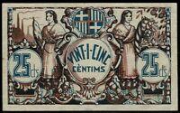 Billete Unio de Cooperadors de Barcelona 25 centims 1936 centimos ayuntamiento
