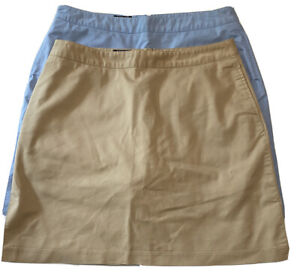LOT OF 2 ADIDAS Womens Sz 10 Stretch Golf Tennis Sport Skort Skirt Khaki & Blue