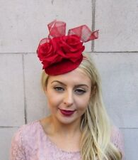 Red Velvet Rose Statement Pillbox Hat Fascinator Headband Races Cocktail 4476