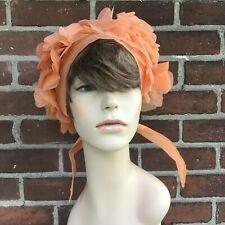 Vintage 1950's Light Peach Sheer Flower Petal Head Triangle Scarf Hat Japan