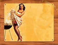 "TIN SIGN ""Barbecue Grille Calendar Girl"" Vintage Retro Pin Up Garage"