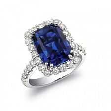 Natural Heated Blue Sapphire 7.91 cts set in 18K White Gold Ring with Diamond