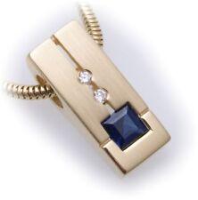 Colgante Zafiro con brillante 0,03ct ORO Auténtico 585 oro Amarillo Diamante