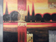 Alberi Foresta Minimale ORO grande dipinto a Olio su Tela Arte Moderna Paesaggio Rosso