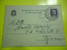 CARD POSTAL 50 CENT. FROM FERRARA TO TURIN 1938