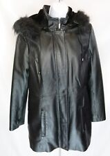 Womens Croft & Barrow Leather Coat Sz S Faux Fur Hood Quilted Zip Out Lining GUC