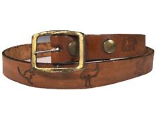Vtg 70's Hand Carved Wildlife Animals Tooled Leather Hippie BoHo Beatnik Belt