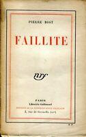 Pierre Bost - Faillite - S.P. - Envoi à Marcelle Auclair