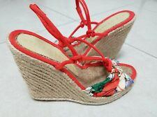 STELLA MCCARTNEY 37 Strappy Multi Color Espadrille Wedge Sandals sz 7