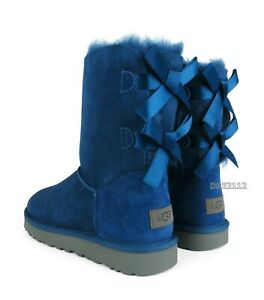 UGG Bailey Bow II Dark Denim Suede Fur Boots Womens Size 8 *NIB*