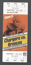 1983 NFL BRONCOS @ CHARGERS FULL UNUSED FOOTBALL TICKET - ELWAY ROOKIE SEASON