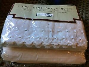 Home Design White Somerset Lace King Sheet Set 4 Piece Shabby Chic Cottage New!