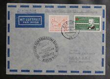 TIMBRES D'ALLEMAGNE : 1er VOL BERLIN - DRESDEN / INLANDS FLUGVERKEHR 16. 6. 1957
