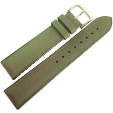 22mm Hirsch Performance Arne Green Sailcloth Style Brown Rubber Watch Band Strap