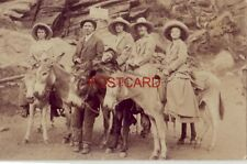 """1915 GROUP OF FIVE ON BURROS, TRAIL TO PIKE'S PEAK """"little fellow saved my life"""""""