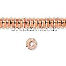 Lot of 100 Small Shiny Copper 4mm Rondelle Heishi Disc Spacer Beads Plated Metal