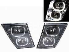 Set of Pair Black DRL Fog Light w/ Halo Rims for 2004-2017 Volvo VNX VNL