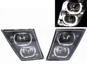 Set of Pair Black DRL Fog Light w/ Halo Rims for 2004-2017 Volvo VNX VNL