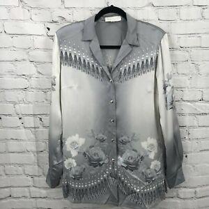 Escada Top Womens 36 Silver Floral Print 100% Silk Long Sleeve Button Up Blouse