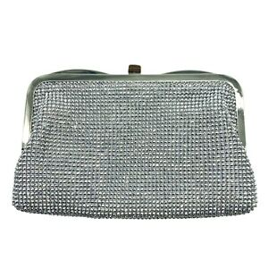 INC International Concepts Womens Bo Rhinestone Mesh Clutch Bag Purse Silver NWT