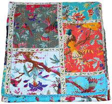 Indian Patchwork Vintage Kantha Quilt Handmade Throw Cotton New Bedspread Queen