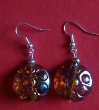 Lampwork drop dangle,silver plated gold iridescent , hook (127)