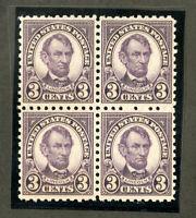 US Stamps # 584 3c Lincoln X OG NH Block Of 4 Scott Value $250.00
