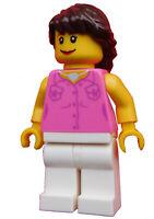 Lego Frau weiße Beine dunkelbraune Haare Weste Minifigur City cty0181 Neu