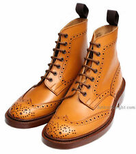 *NEW* Trickers England Stow Acorn Brogue Boots Tan Goodyear Welted Shoes UK 7