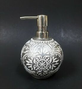 NEW GRAY,GREY,WHITE CARVED FLORAL RESIN SPHERE+SILVER CHROME PUMP SOAP DISPENSER