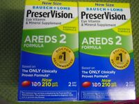 New ! 2 X 210ct Bausch & Lomb PreserVision AREDS 2 Formula Supplement