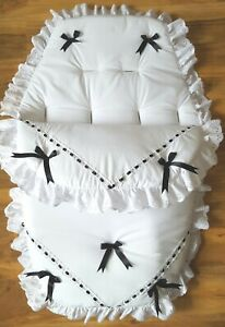 Baby's Cosy Toes / Footmuff 3-in-1 in WHITE with BLACK AND LARGE BLACK BOWS
