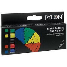 Dylon De Pintura De Tela Fina Nuevo En Caja De Plumas-Colores-Juego De 5-Libre De Envío
