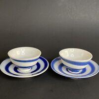 Vintage Pair Japanese Porcelain Sake Cup Saucer Set Blue Swirl Porcelain
