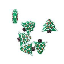 Lot of 6 Handmade Red and Green 3/4 inch Glass Christmas Tree Lamwork Beads