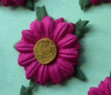 ✿ GORGEOUS HANDMADE MULBERRY PAPER FUSCHIA PINK DAISIES X 12 ✿ 2.8 cm  ✿
