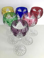 """AJKA MULTI COLOR CASED CUT TO CLEAR CRYSTAL 8 1/4"""" WINE GOBLETS Set of 6"""