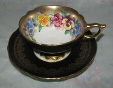 Vintage Royal Stafford Black and Gold Lace with Pansy flowers Tea cup and Saucer