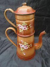 Cafetière tôle émaillée bouquets roses relief vers 1920 enamel coffee pot