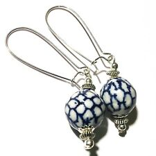Long Blue Chinese Porcelain Bead Earrings Drop Dangle Silver Style UK MADE
