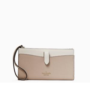 Kate Spade Leila Leather Medium Universal Phone Wristlet Wallet Warm Beige Cream