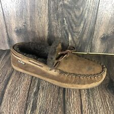 LL Bean Mens Brown Suede Slippers Wicked Good Venetian Original Size 10 M