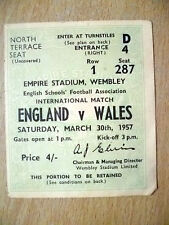 Ticket- 1957 English School International - ENGLAND v WALES, 30 March